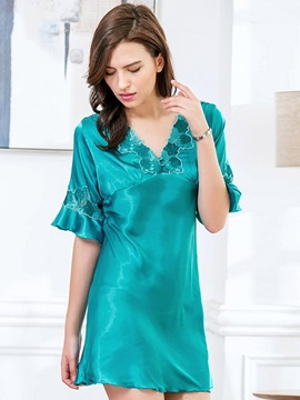 V-Neck Flare Sleeve Floral Above Knee Nightgown