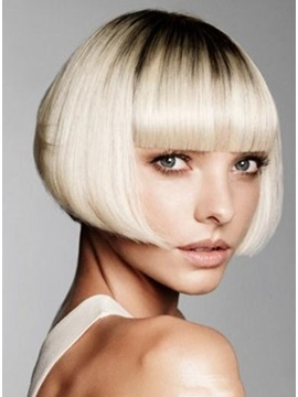 Top Quality Lovely Bob Hairstyle Short Straight Ombre Wig 100% Human Hair 8Inches