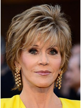 Oscar Star Jane Fonda Hairstyle Straight Human Hair Full Lace Wig about 7 Inches