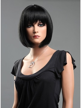 Bob Hairstyle Straight Lace Front Wig with Full Bangs 100% Human Hair