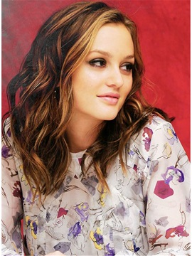 Leighton Meester Mid-length Loose Wave Human Hairstyle Lace Front Wigs 14 Inches