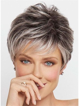 Salt and Pepper Short Choppy Layered Synthetic Capless Wigs