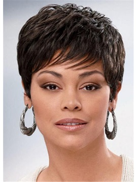 Women's Short Length Natural Straight Synthetic Hair Wigs 120% Density Capless Wigs 8inch