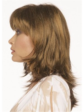 Middle Length Women's Wavy Synthetic Hair Wigs Lace Front Cap Wigs 16inch