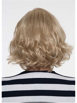 Blonde Color Women's Short Length Capless Wavy Synthetic Hair Wigs 12inch
