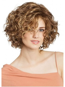 Women's Short Length Curly Synthetic Hair Wigs Lace Front Cap Wigs 14inch