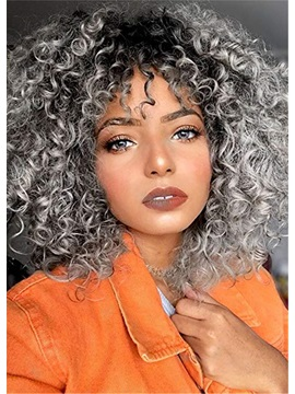 Women's Kinky Curly Synthetic Hair Wigs Middle Length Capless Wigs 16inch