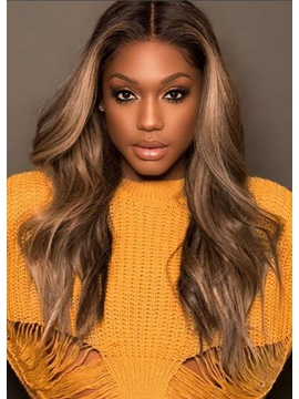 Women Glueless Wavy Ombre Ash Blonde Pre Plucked Baby Hair Synthetic Hair Lace Front Wig 24Inch