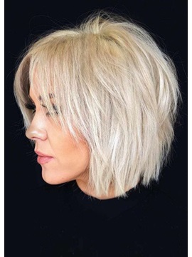 Short Choppy Pixie Cut Hairstyles Women's Blonde Color Straight Human Hair Lace Front Cap Wigs 10Inch