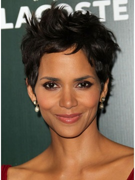 Top Quality Custom Halle Berry Graceful Hairstyle Super Natural Short Curly Mono Top Wig 4 Inches