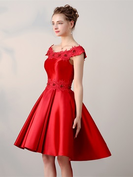 Perfect A-Line Appliques Beading Asymmetry Homecoming Dress