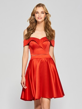 Fancy A-Line Sweetheart Short Sleeves Empire Off-the-Shouder Homecoming Dress