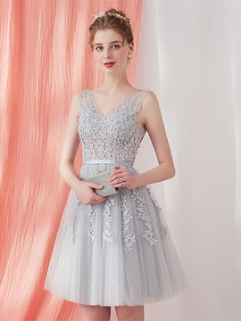 A-Line Appliques Beading Sashes Homecoming Dress