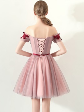 A-Line Off-the-Shoulder Appliques Bowknot Homecoming Dress