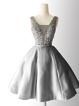 A-Line Beading Sashes Square Homecoming Dress