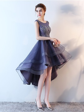 A-Line Scoop Appliques High Low Homecoming Dress
