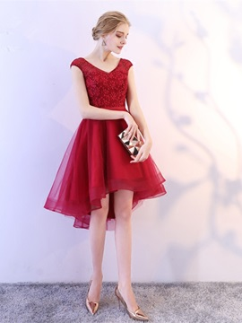 A-Line V-Neck Lace High Low Homecoming Dress
