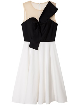 A-Line Pleats Scoop Bowknot Homecoming Dress