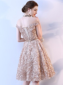 Lace A-Line Off-the-Shoulder Homecoming Dress