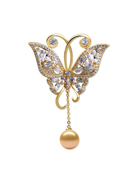 European Pearl Copper Brooches Brooches