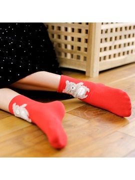 Red Cute Cartoon Animal Christmas Gift Box Socks for Ladies