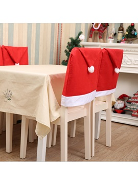 Christmas Hat Design Chair Cover Home Decoration