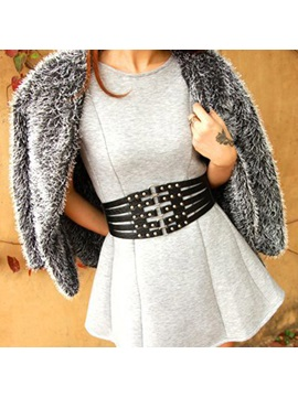 Wide Hollow Out Rivet Decorated PU Belts
