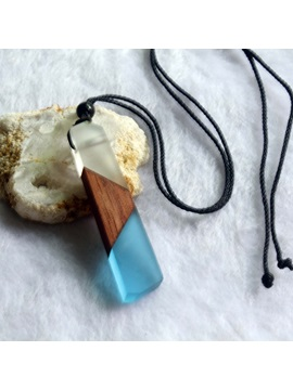 Color Block Resin Wooden Lover's Necklace