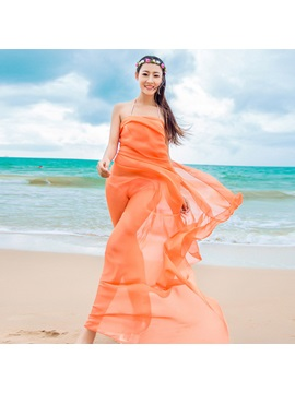 Living Coral Color Chiffon Sunscreen Soft Beach Scarf