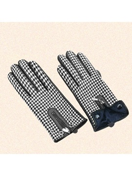 Patchwork Leather Plaid Winter Gloves
