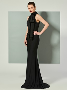 High Neck Bowknot Sweep Train Evening Dress