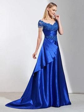 A-Line Appliques Beaded V-Neck Evening Dress