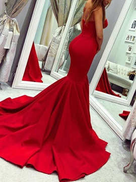 Trumpet Sweetheart Floor-Length Chapel Train Evening Dress