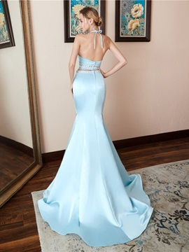 Halter Court Beading Trumpet/Mermaid Evening Dress
