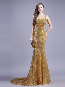 Trumpet Sleeveless Court Train Beading Formal Dress 2019