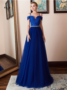 Sleeveless Spaghetti Straps A-Line Appliques Evening Dress 2019