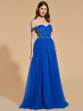 A-Line Appliques Beading Button Prom Dress