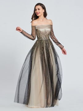 A-Line Off-the-Shoulder Beading Prom Dress