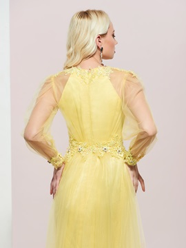 Appliques Beading Long Sleeves Prom Dress 2019