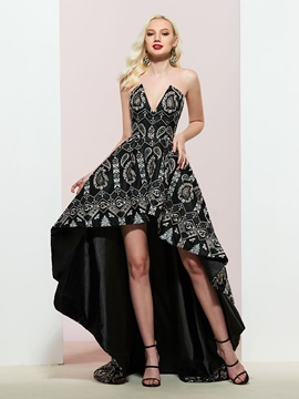 A-Line Strapless Asymmetry Lace Prom Dress