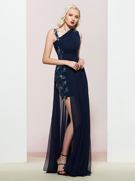 Straps Sleeveless A-Line Appliques Prom Dress
