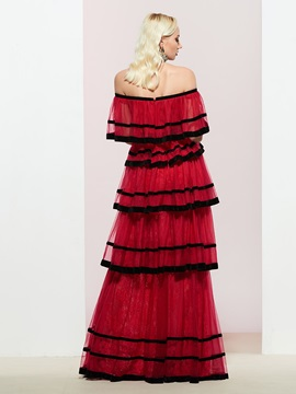 Tiered Sleeveless Off-The-Shoulder A-Line Prom Dress 2019