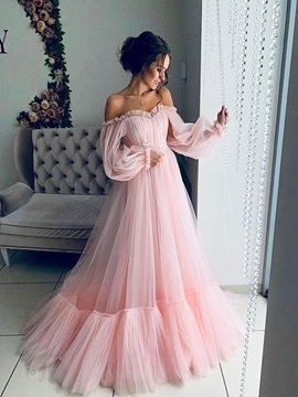 Off the Shoulder Ruffles Long Sleeves Pink Prom Dress 2019