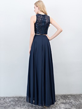 Scoop Floor-Length A-Line Lace Prom Dress 2019