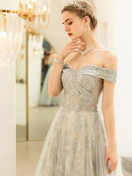 A-Line Lace Short Sleeves Off-The-Shoulder Prom Dress 2019