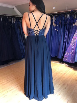 V-Neck A-Line Beading Lace-Up Prom Dress 2019