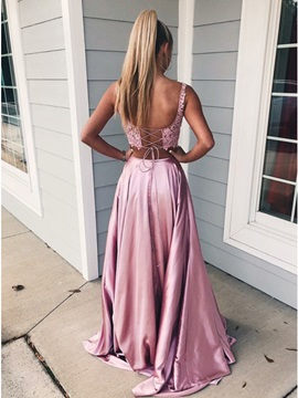 Straps Lace Two Pieces Prom Dress 2019