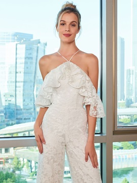 Lace Open Shoulder Wedding Jumpsuits