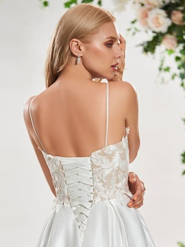 Spaghetti Straps Appliques Lace-Up Wedding Dress