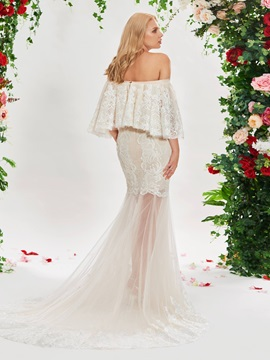 Off the Shoulder Split-Front Mermaid Wedding Dress